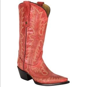 New Corral Picasso Red Cowgirl Boots Leather